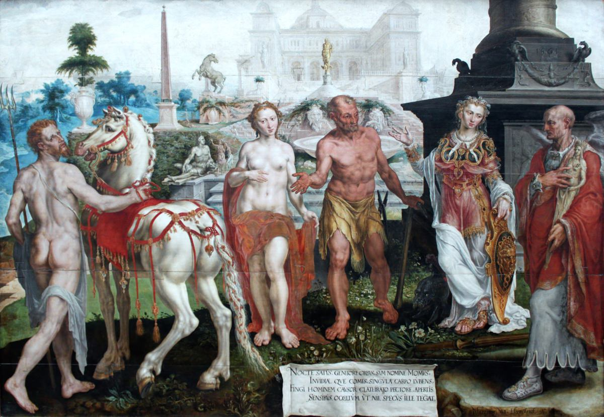 1561_Marteen van Heemskerck_Momus critica le opere degli dèi