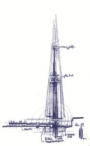 The Shard Renzo Piano sketch 2002 – image RPBW