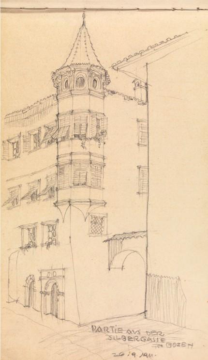 E Sottsass Sr schizzo 1911 imagecredits foto Eccher Nicola mart.trento.it