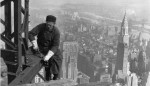 Workman on the Framework of the Empire State Building 1930 imagecredits Lewis Hine edited by Durova PD