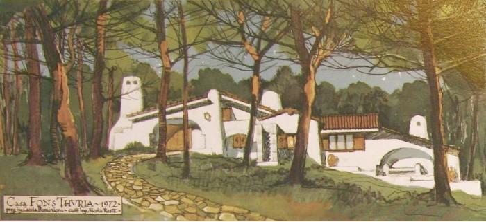 Paolo Caccia Dominioni bozzetto Villaggio turistico a Riva dei Tessali 1972