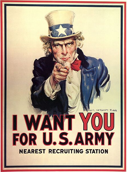 James Montgomery Flagg poster I want you for the U.S. Army 1916-17 imagecredits PD