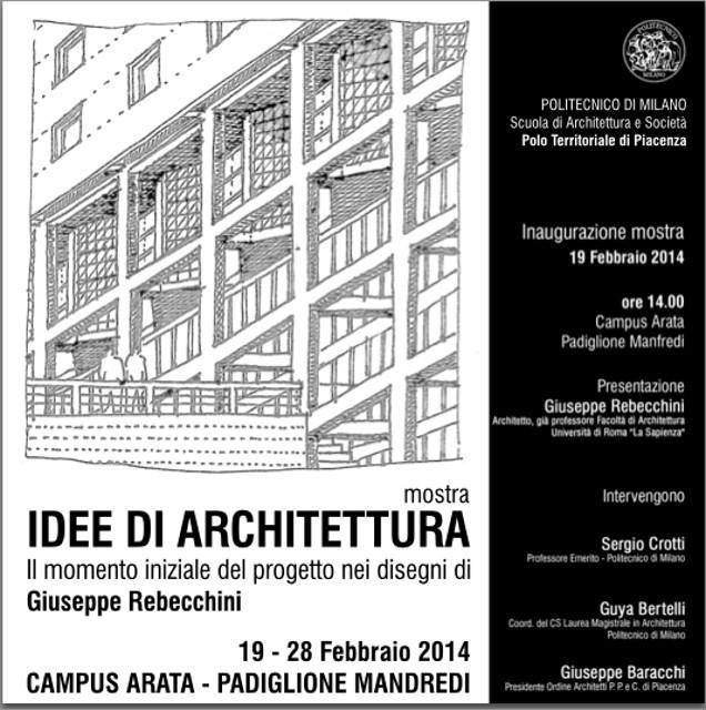 locandina Idee di architettura Il momento iniziale del progetto nei disegni di Giuseppe Rebecchini imagecredits archpolopiacenza.polimi.it