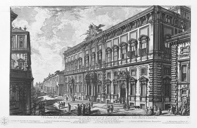 GB Piranesi Veduta del Palazzo fabbricato sul Quirinale per le Segreterie de Brevi e della Sacra Consulta imagecredits PD