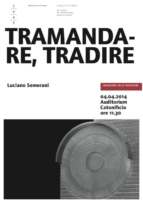 Semerani Tramandare, tradire imagecredits iuav.it