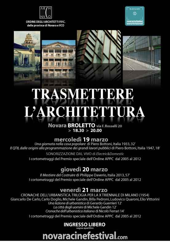 locandina Trasmettere l'architettura Novara imagecredits novaracinefestival.it