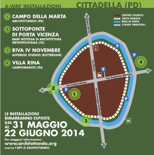 mappa installazioni A-WAY Cittadella 2014 imagecredits architettando.org