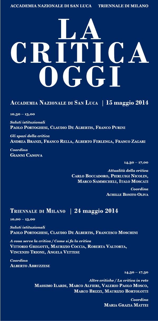 poster convegno La Critica oggi imagecredits accademiasanluca.eu