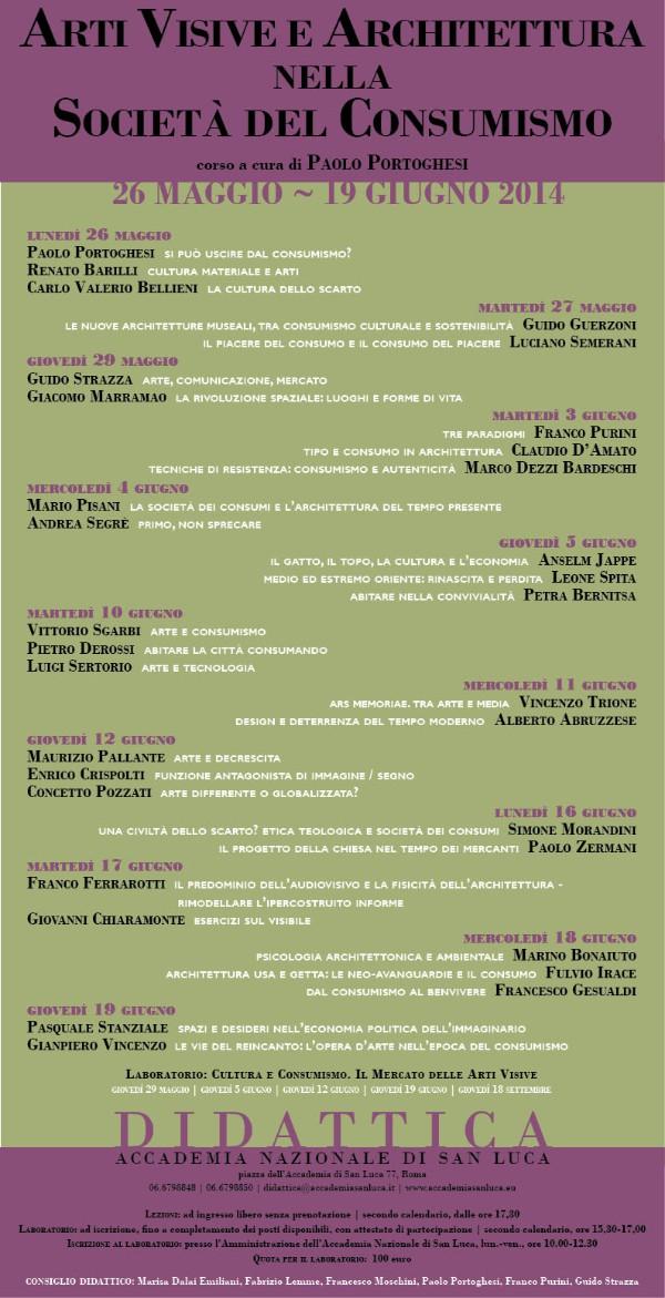 programma Arti visive e Architettura nella Società del Consumismo imagecredits accademiasanluca.eu