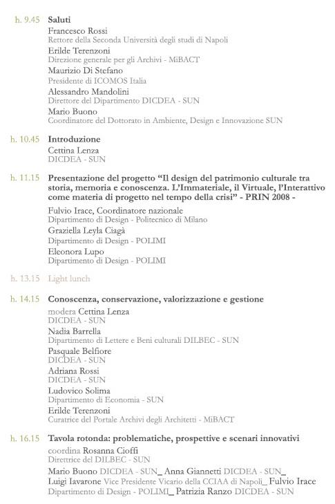 programma presentazione design&culturalheritage Napoli