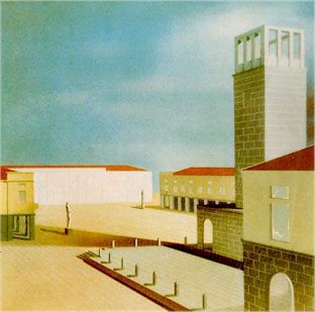 Giuseppe De Min prospettiva di piazza del Popolo di Torviscosa