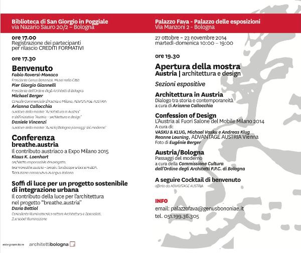 27 ottobre 2014 mostra Austria architettura design Bologna