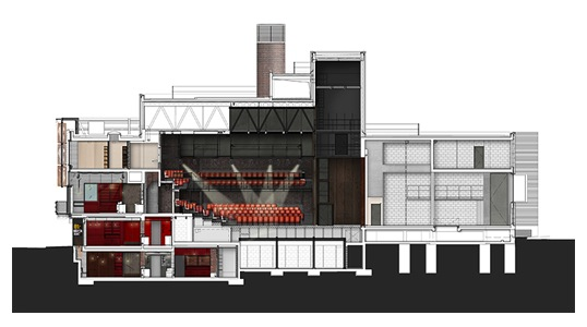 Haworth Tompkins Architects Everyman Theatre sezione renderizzata imagecredits haworthtompkins.com