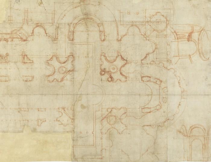 Bramante studi per San Pietro Firenze, Gabinetto Disegni e Stampe degli Uffizi, inv. 20 A recto