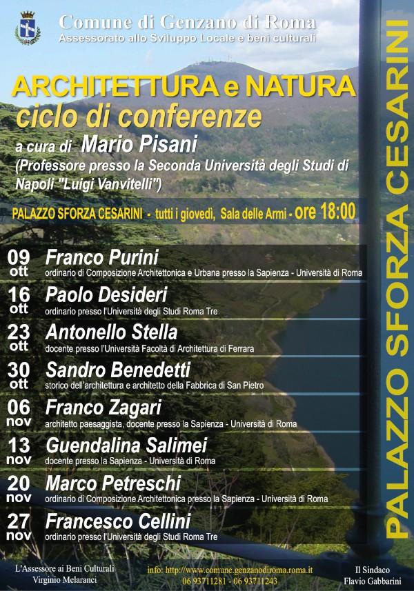 locandina Architettura e Natura conferenze Genzano imagecredits comune.genzanodiroma.roma.it