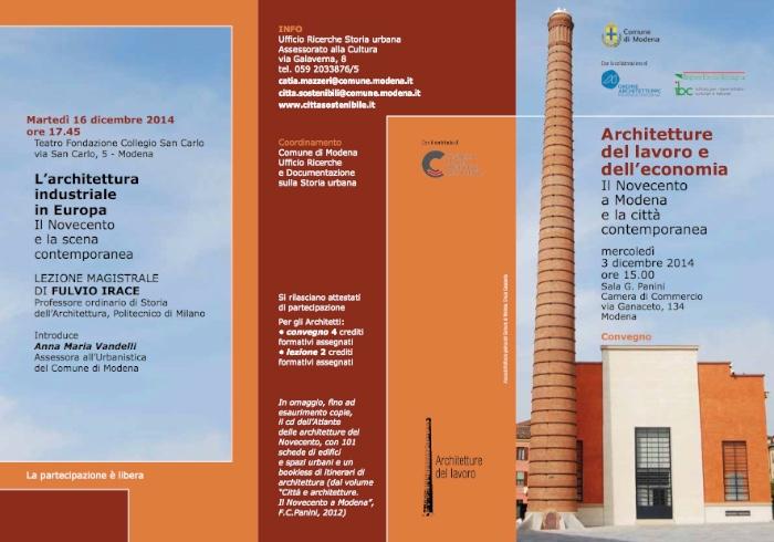 locandina Architetture del lavoro e dell'economia Il Novecento a Modena e la città contemporanea imagecredits cittasostenibile.it