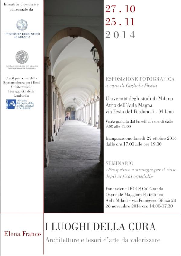 locandina mostra fotografica I Luoghi della cura - architetture e tesori d'arte da valorizzare Milano