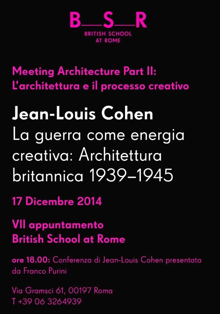 locandina Jean-Louis Cohen BSR Roma imagecredits bsr.ac.uk