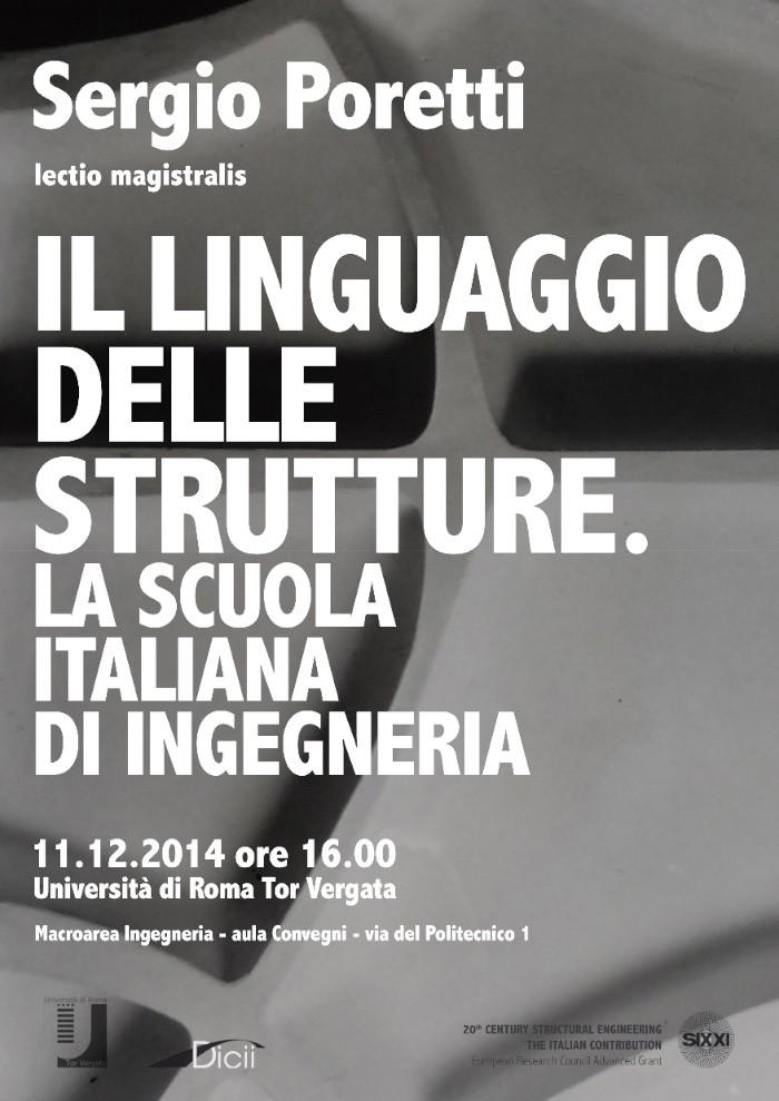 locandina lectio magistralis di Sergio Poretti Il linguaggio delle strutture imagecredits dicii.uniroma2.it