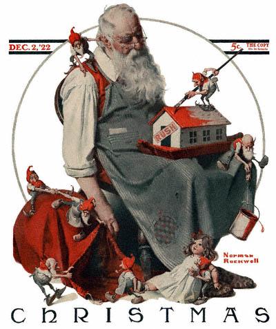 Norman Rockwell Santa with Elves copertina di The Saturday Evening Post del 2 dicembre 1922 CC PD