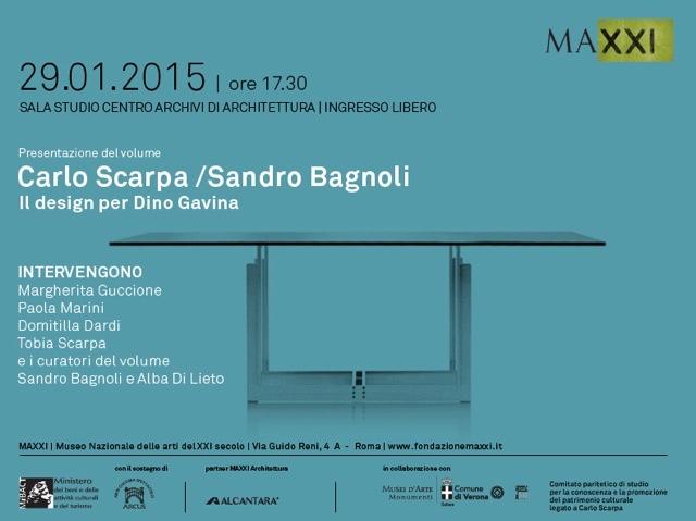 invito alla presentazione di Carlo Scarpa e Sandro Bagnoli. Il design per Dino Gavina imagecredits fondazionemaxxi.it