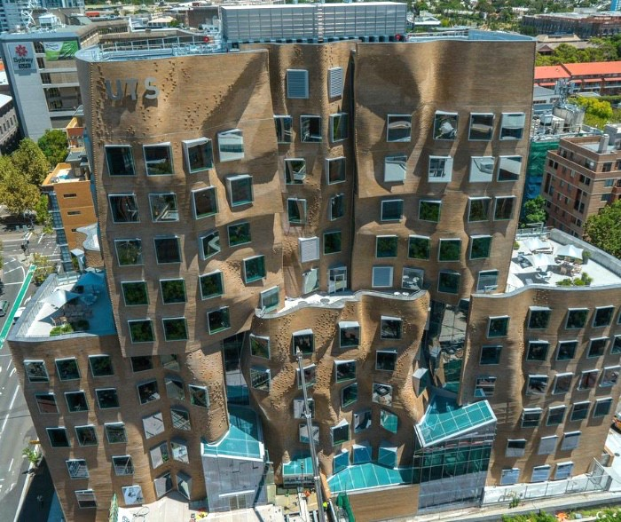 Gehry UTS Dr Chau Chak Wing Building photo Coptercam