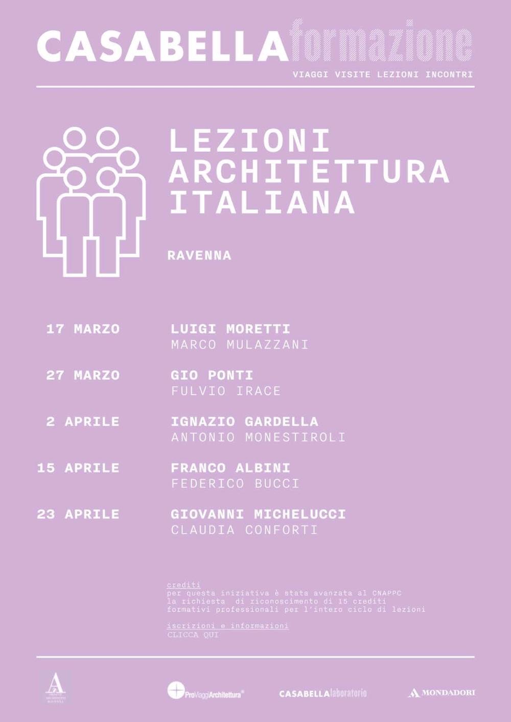 Ciclo di lezioni architettura italiana Ravenna CASABELLA formazione
