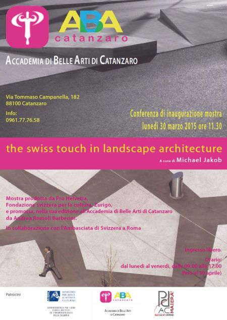 locandina The Swiss Touch in Landscape Architecture Catanzaro
