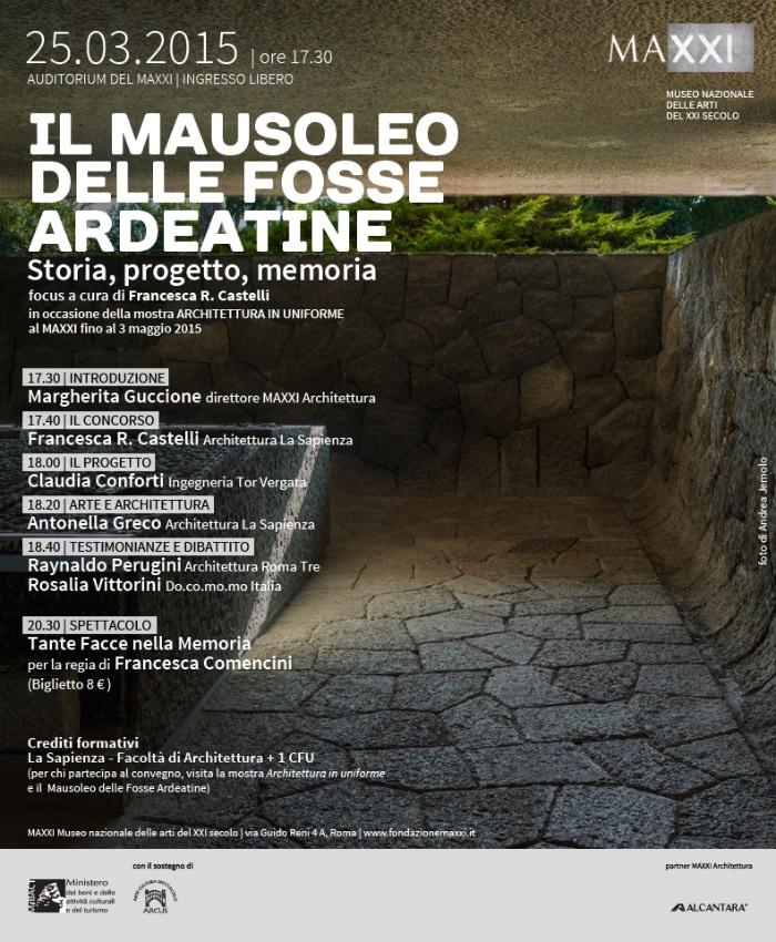 locandina focus Il Mausoleo delle Fosse Ardeatine imagecredits fondazionemaxxi.it