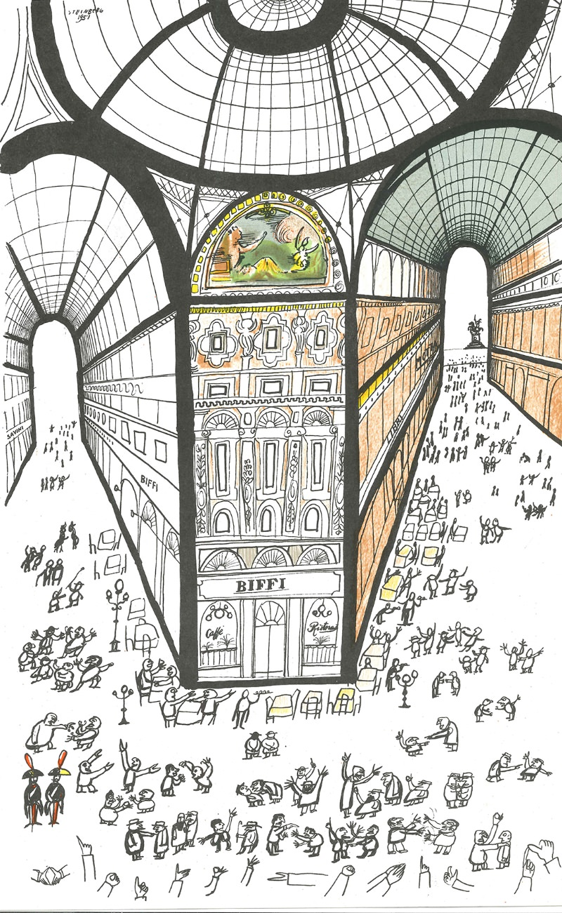 Saul Steiberg Galleria di Milano 1951 private collection imagecredits The Saul Steinberg Foundation ARS NY courtesy polimi.it