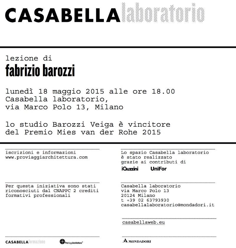 invito CASABELLA laboratorio Barozzi