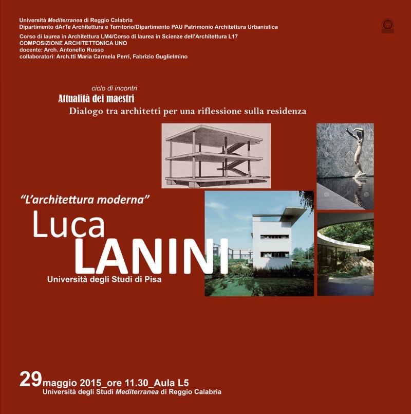 locandina della conferenza Luca Lanini per il ciclo Abitare il vuoto REggio Calabria imagecredits unirc.it