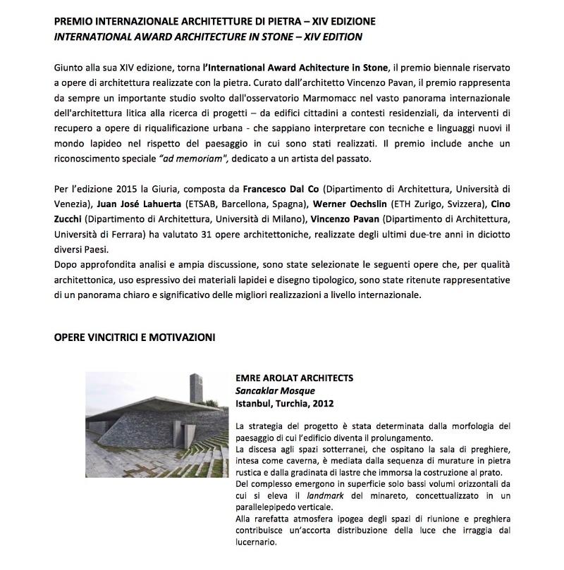 Architecture in Stone XIV International Award 2015 1