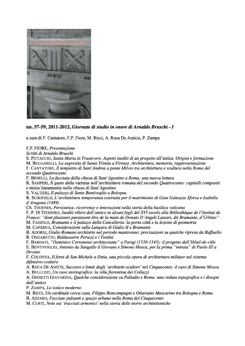 Saggi in onore di Arnaldo Bruschi QUADERNI_57_59