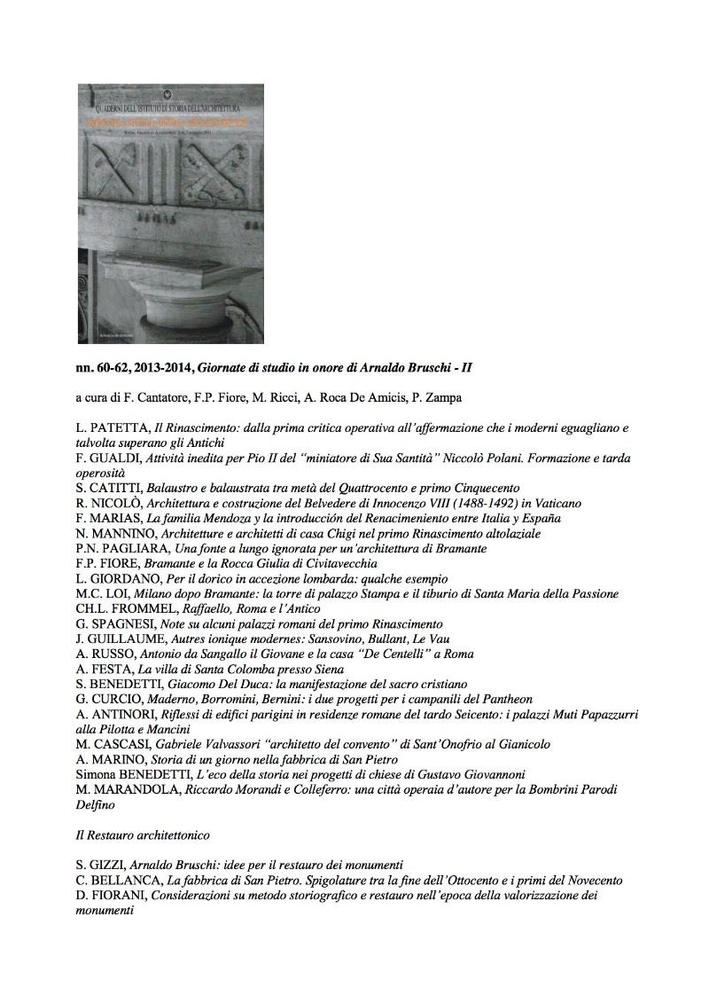 Saggi in onore di Arnaldo Bruschi QUADERNI_60_62