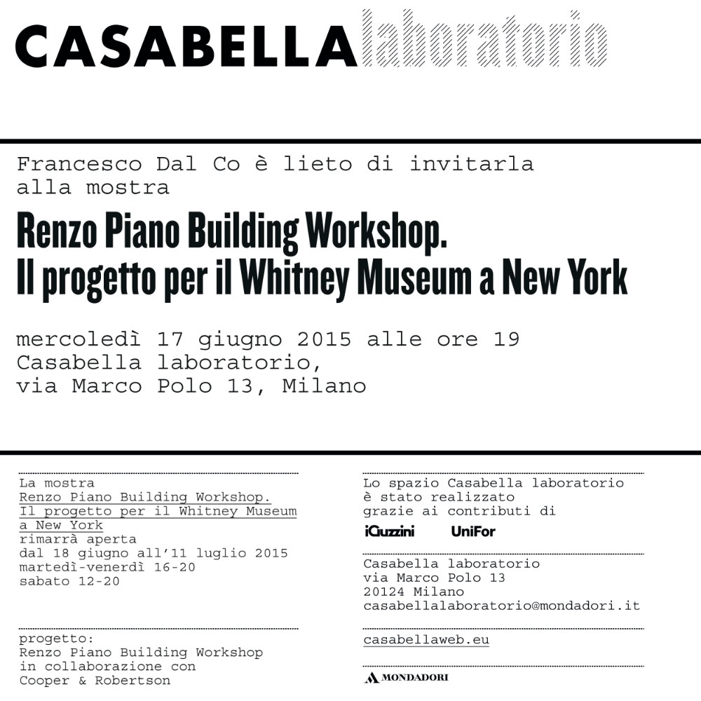 invito Renzo Piano Building Workshop CB laboratorio