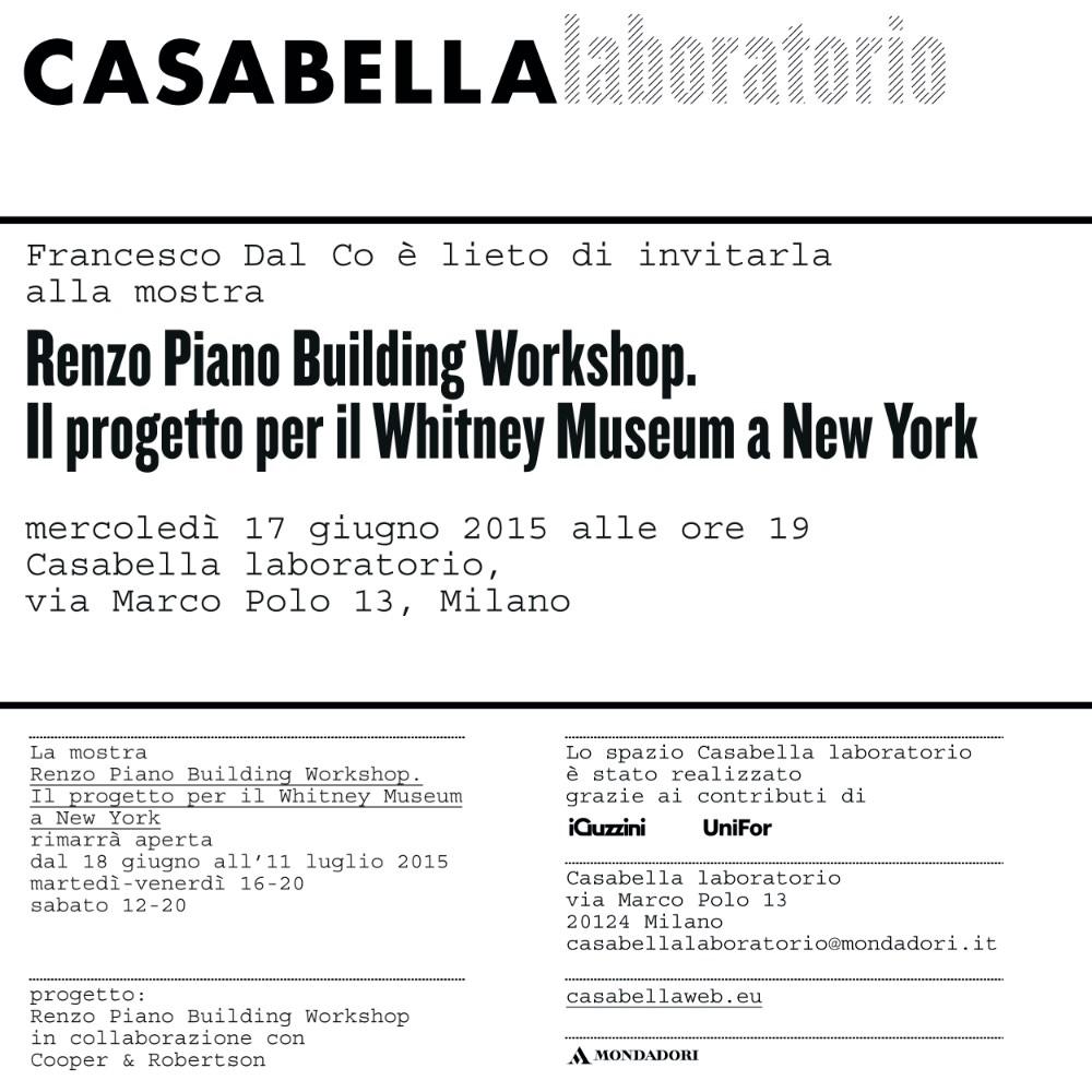 invito Renzo Piano Building Workshop CB laboratorio