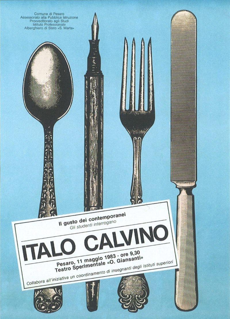 Massimo Dolcini poster Il gusto dei contemporanei. Gli studenti interrogano Italo Calvino 1983