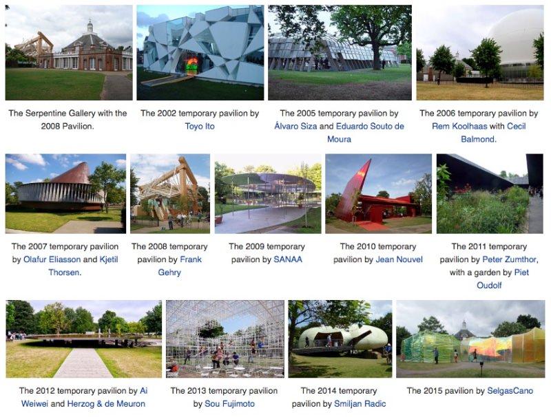 Serpentine pavilions 2002-2015 imagecredits Wikipedia