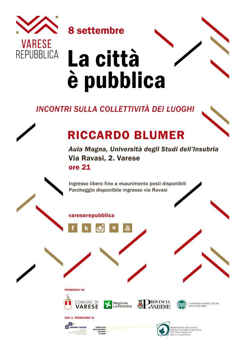 invito Riccardo Blumer La Città è Pubblica Varese