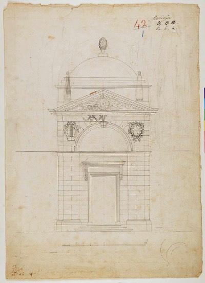 Camillo Morigia progetto della prima versione del fronte della tomba di Dante imagecredits classense.ra.it