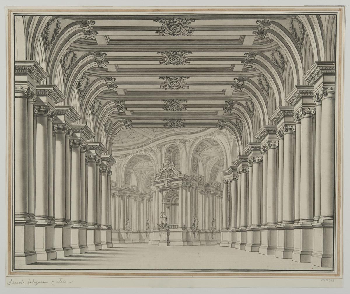 Carlo Galli Bibiena, Veduta prospettica di galleria a due bracci