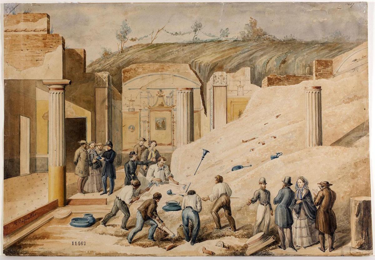 Luigi Capaldo Scavo archeologico a Pompei 1860 ca.