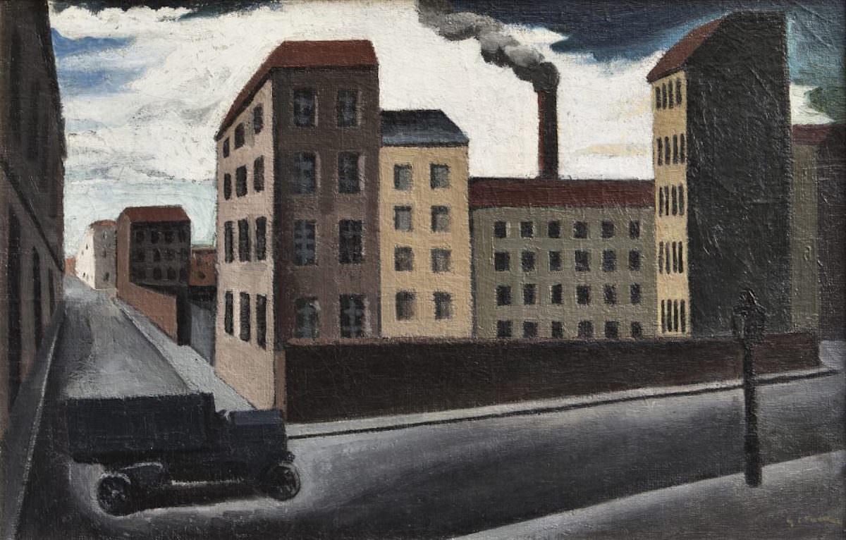 Mario Sironi, Paesaggio urbano con camion, 1920
