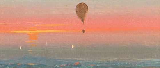 Ippolito Caffi, Ascensione in mongolfiera nella campagna romana, 1847, olio su carta, Musei civici di Treviso