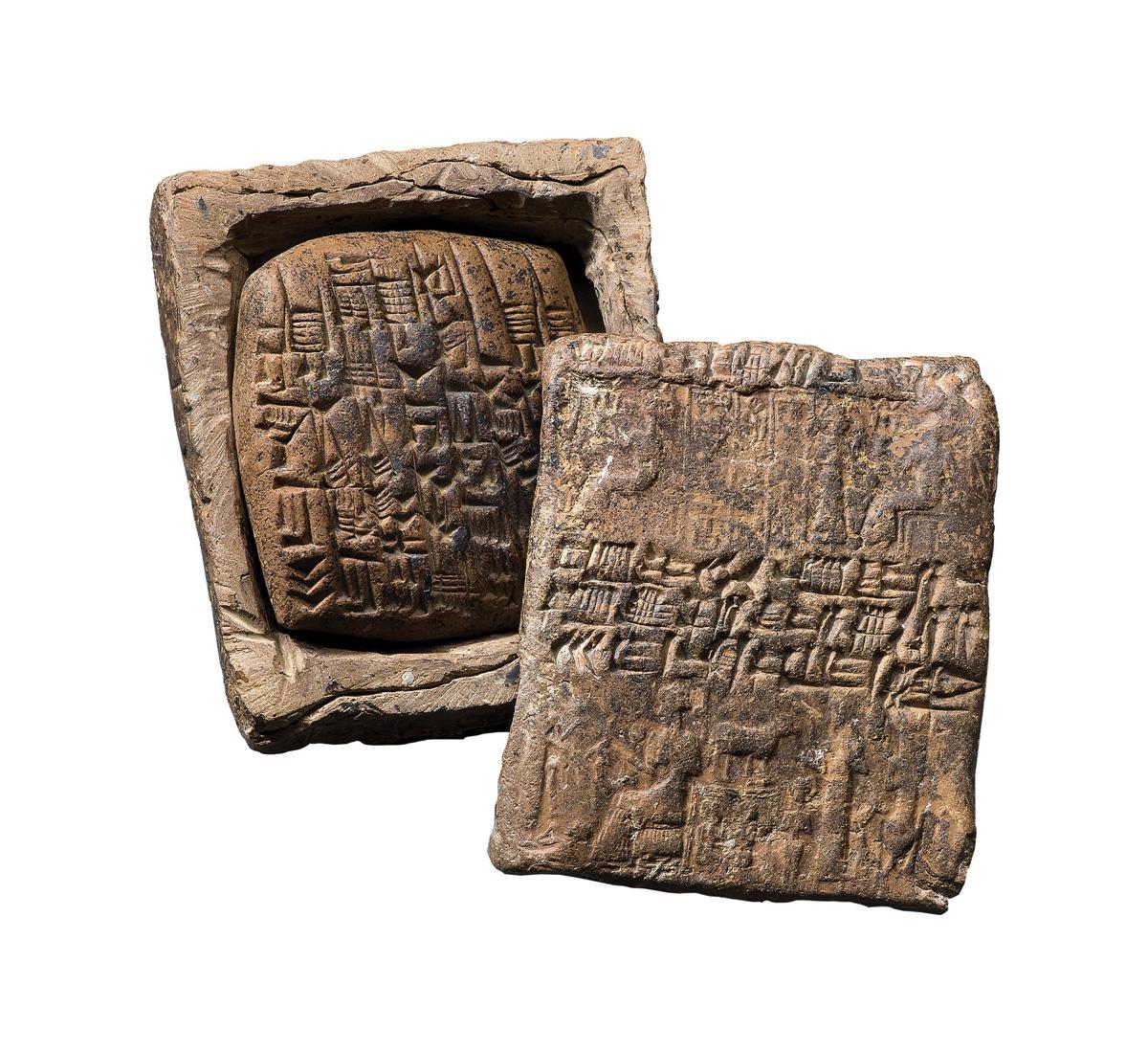 Busta d'argilla con tavoletta racchiusa all'interno. Kanesh Paleo-assiro (XIX sec. a.C.). Argilla