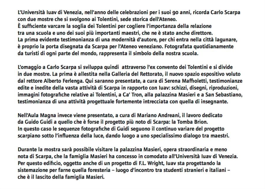 Carlo Scarpa after Carlo Scarpa