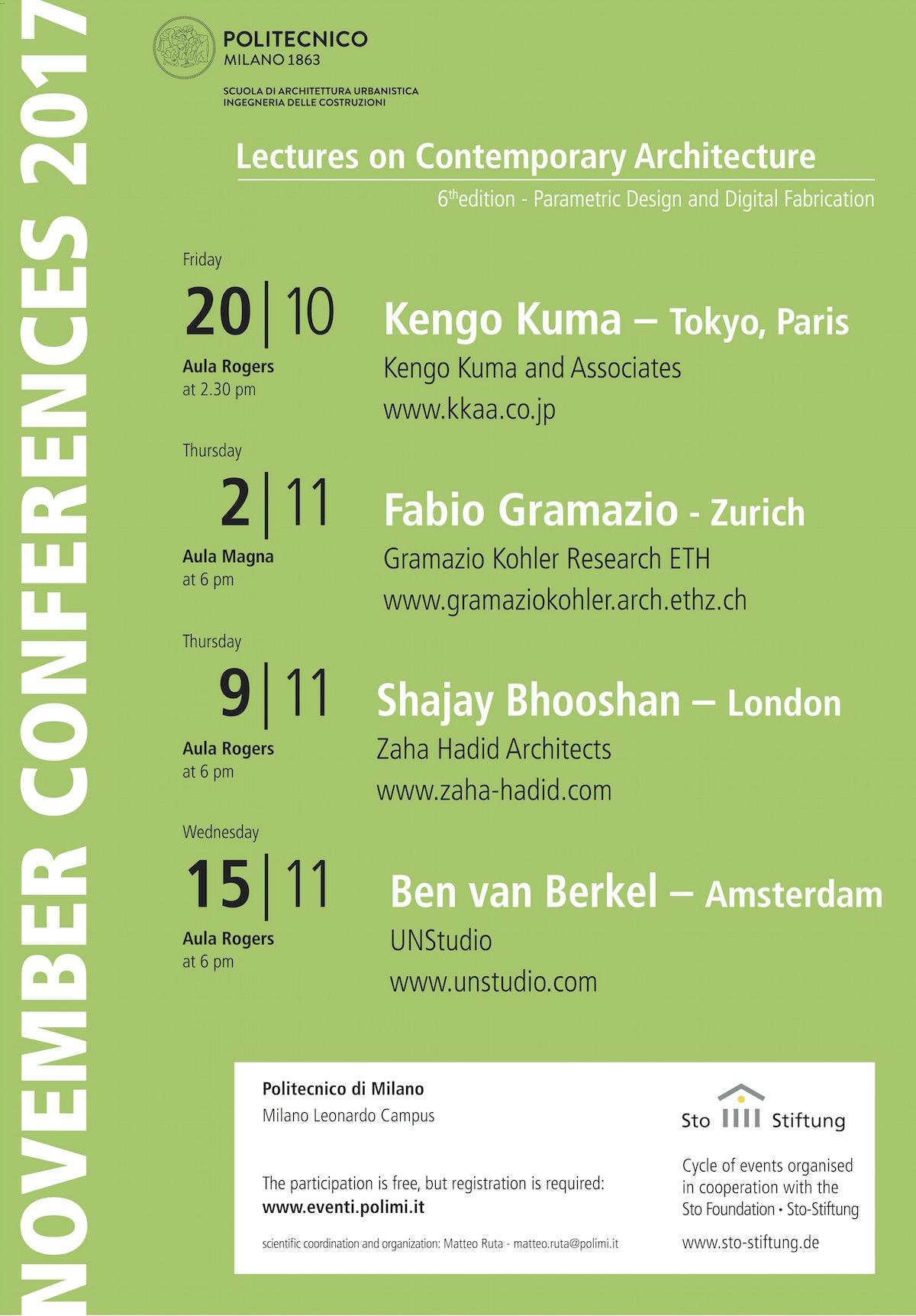 Conferenze di Novembre 2017 Polimi