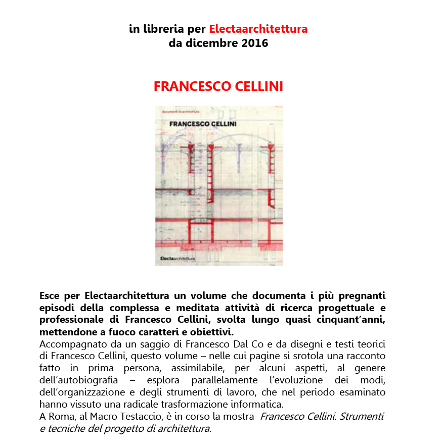 Francesco Cellini Electaarchitettura 2016