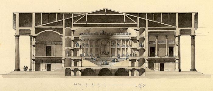 Giacomo Quarenghi- Progetto per un teatro all'antica- sezione. Accademia Carrara- Bergamo